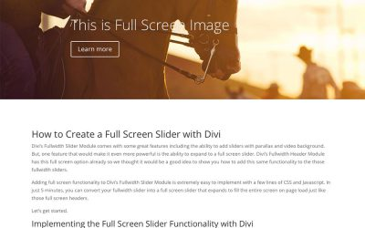 How to Create a Full Screen Slider with Divi